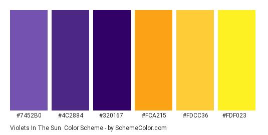 Violets in the Sun - Color scheme palette thumbnail - #7452b0 #4c2884 #320167 #fca215 #fdcc36 #fdf023