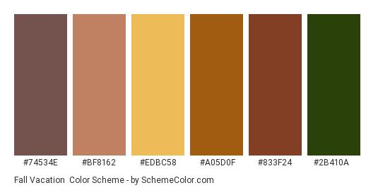Fall Vacation - Color scheme palette thumbnail - #74534e #bf8162 #edbc58 #a05d0f #833f24 #2b410a