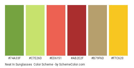 Neat in Sunglasses - Color scheme palette thumbnail - #74a33f #c7e26d #ed6151 #ab2e2f #b79f6d #f7c620