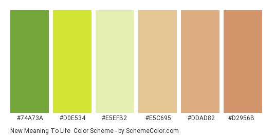 New Meaning to Life - Color scheme palette thumbnail - #74a73a #d0e534 #e5efb2 #e5c695 #ddad82 #d2956b