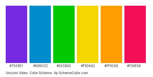 Unicorn Vibes - Color scheme palette thumbnail - #7529e1 #008ccc #02c802 #f5d602 #ff9c00 #f30e58