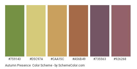 Autumn Presence - Color scheme palette thumbnail - #759143 #d5c97a #caa15c #a56b49 #735563 #926268