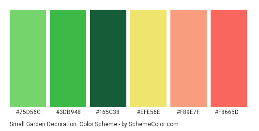 Small Garden Decoration - Color scheme palette thumbnail - #75d56c #3db948 #165c38 #efe56e #f89e7f #f8665d