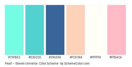 Pearl – Steven Universe - Color scheme palette thumbnail - #75fbe2 #53d2ce #396598 #fcd1b8 #fffff8 #ffbac6