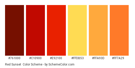 Red Sunset - Color scheme palette thumbnail - #761000 #c10900 #e92100 #ffdb53 #ffa93d #ff7a29