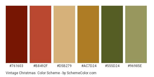 Vintage Christmas - Color scheme palette thumbnail - #761603 #b8492f #d5b279 #ac7d24 #555d24 #96985e