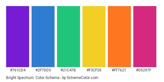 Bright Spectrum - Color scheme palette thumbnail - #761cd4 #2f7dd3 #21c47b #f3cf26 #ff7621 #d5297f