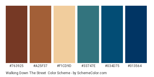 Walking Down the Street - Color scheme palette thumbnail - #763925 #a25f37 #f1cd9d #33747e #034d75 #013564