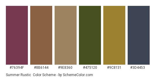 Summer Rustic - Color scheme palette thumbnail - #76394f #8b6144 #9e8360 #475120 #9c8131 #3d4453