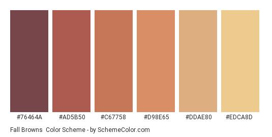 Fall Browns - Color scheme palette thumbnail - #76464a #ad5b50 #c67758 #d98e65 #ddae80 #edca8d