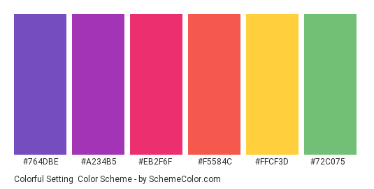 Colorful Setting - Color scheme palette thumbnail - #764DBE #A234B5 #EB2F6F #F5584C #FFCF3D #72C075