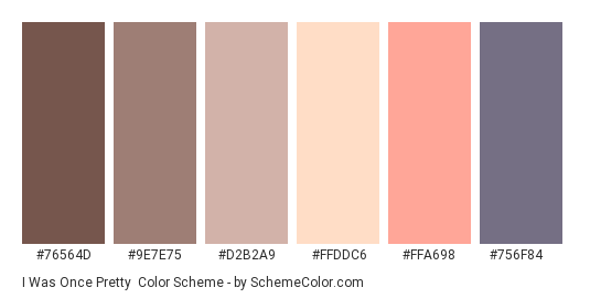 I Was Once Pretty - Color scheme palette thumbnail - #76564D #9E7E75 #D2B2A9 #FFDDC6 #FFA698 #756f84