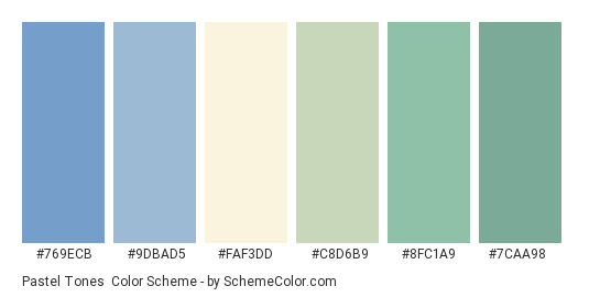 Pastel Tones Color Scheme Palette Thumbnail 769ecb 9dbad5 Fafd C8d6b9
