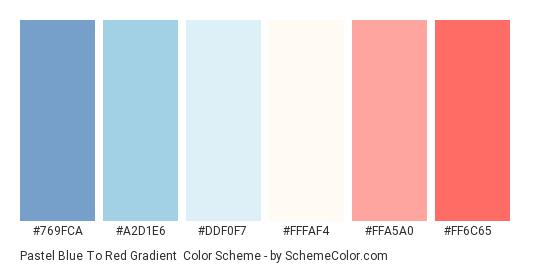 Pastel Blue to Red Gradient - Color scheme palette thumbnail - #769fca #a2d1e6 #ddf0f7 #fffaf4 #ffa5a0 #ff6c65