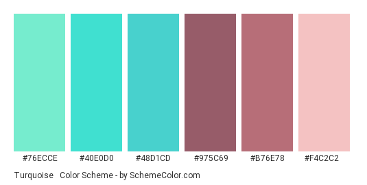 Turquoise & Rose Gold - Color scheme palette thumbnail - #76ECCE #40E0D0 #48D1CD #975C69 #B76E78 #F4C2C2