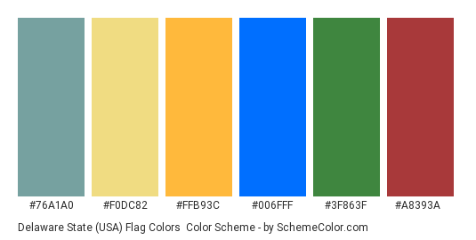 Delaware State (USA) Flag Colors - Color scheme palette thumbnail - #76a1a0 #f0dc82 #ffb93c #006fff #3f863f #a8393a