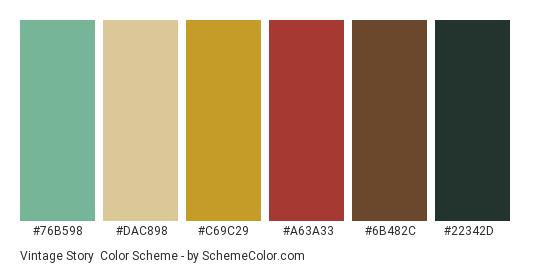 Vintage Story - Color scheme palette thumbnail - #76b598 #dac898 #c69c29 #a63a33 #6b482c #22342d
