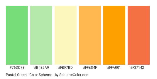 Pastel Green & Orange - Color scheme palette thumbnail - #76dd78 #b4e9a9 #fbf7bd #ffb84f #ffa001 #f37142