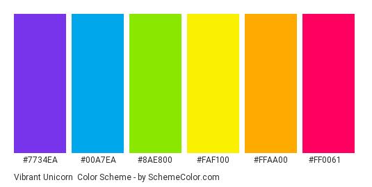 Vibrant Unicorn - Color scheme palette thumbnail - #7734ea #00a7ea #8ae800 #faf100 #ffaa00 #ff0061