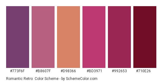 Romantic Retro - Color scheme palette thumbnail - #773f6f #b8607f #d98366 #bd3971 #992653 #710e26