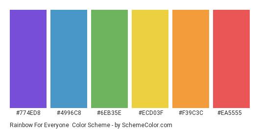 Rainbow for Everyone - Color scheme palette thumbnail - #774ed8 #4996c8 #6eb35e #ecd03f #f39c3c #ea5555