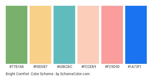 Bright Comfort - Color scheme palette thumbnail - #77b16b #f8d087 #60bcbc #fcceb9 #fc9d9d #1a73f1