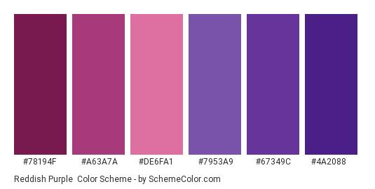 Reddish Purple - Color scheme palette thumbnail - #78194f #a63a7a #de6fa1 #7953a9 #67349c #4a2088