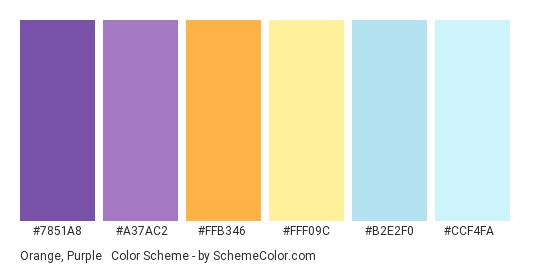 Orange, Purple & Blue Pastels - Color scheme palette thumbnail - #7851A8 #A37AC2 #FFB346 #FFF09C #B2E2F0 #CCF4FA
