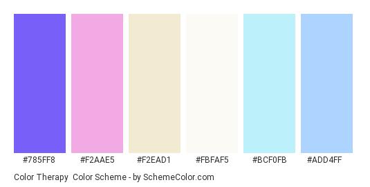 Color Therapy - Color scheme palette thumbnail - #785ff8 #f2aae5 #f2ead1 #fbfaf5 #bcf0fb #add4ff