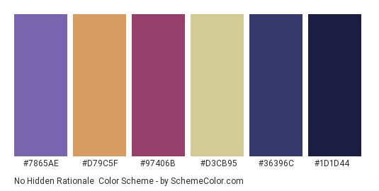 No Hidden Rationale - Color scheme palette thumbnail - #7865ae #d79c5f #97406b #d3cb95 #36396c #1d1d44