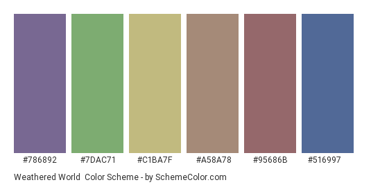 Weathered World - Color scheme palette thumbnail - #786892 #7dac71 #c1ba7f #a58a78 #95686b #516997