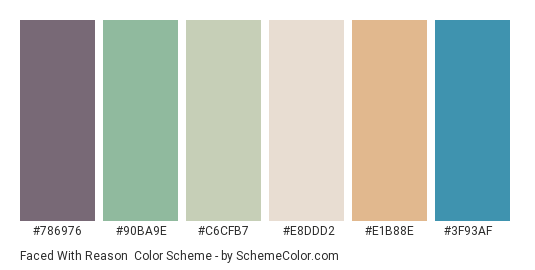 Faced with Reason - Color scheme palette thumbnail - #786976 #90ba9e #c6cfb7 #e8ddd2 #e1b88e #3f93af