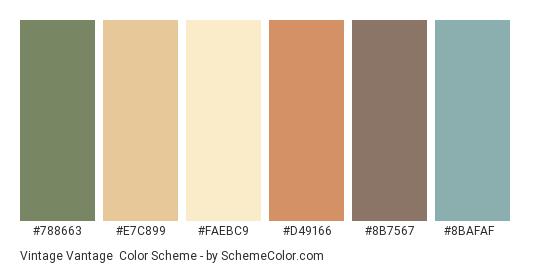 Vintage Vantage - Color scheme palette thumbnail - #788663 #e7c899 #faebc9 #d49166 #8b7567 #8bafaf