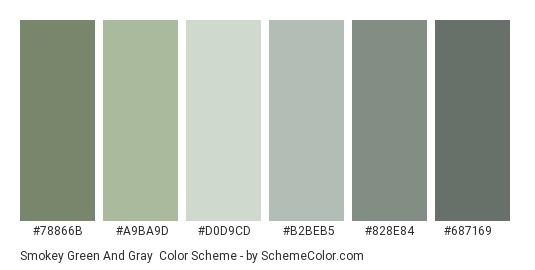 Smokey Green and Gray - Color scheme palette thumbnail - #78866B #A9BA9D #D0D9CD #B2BEB5 #828E84 #687169