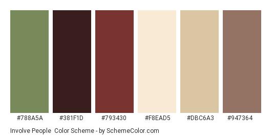 Involve People - Color scheme palette thumbnail - #788a5a #381f1d #793430 #f8ead5 #dbc6a3 #947364