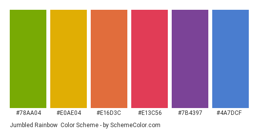 Jumbled Rainbow - Color scheme palette thumbnail - #78aa04 #e0ae04 #e16d3c #e13c56 #7b4397 #4a7dcf