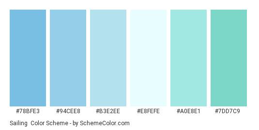 Sailing - Color scheme palette thumbnail - #78bfe3 #94cee8 #b3e2ee #e8fefe #a0e8e1 #7dd7c9