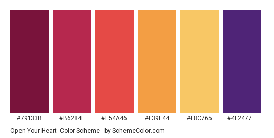 Open Your Heart - Color scheme palette thumbnail - #79133b #b6284e #e54a46 #f39e44 #f8c765 #4f2477
