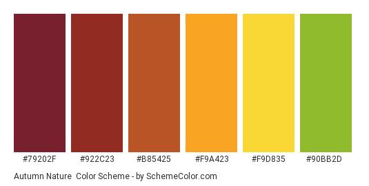 Autumn Nature - Color scheme palette thumbnail - #79202f #922c23 #b85425 #f9a423 #f9d835 #90bb2d