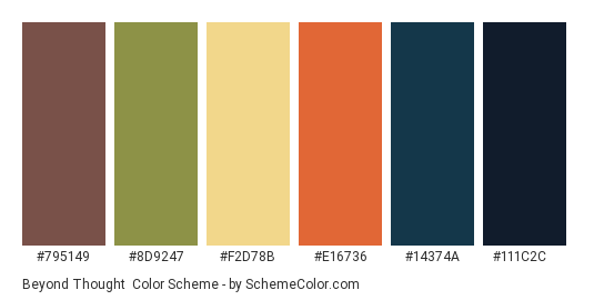 Beyond Thought - Color scheme palette thumbnail - #795149 #8d9247 #f2d78b #e16736 #14374a #111c2c