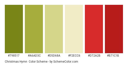 Christmas Hymn - Color scheme palette thumbnail - #798517 #a6ad3c #d5d68a #f2ecc6 #d72a2b #b71c1b