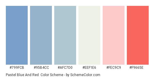 Pastel Blue and Red - Color scheme palette thumbnail - #799fcb #95b4cc #afc7d0 #eef1e6 #fec9c9 #f9665e