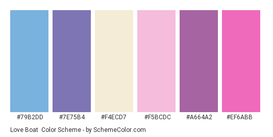 Love Boat - Color scheme palette thumbnail - #79B2DD #7E75B4 #F4ECD7 #F5BCDC #A664A2 #EF6ABB