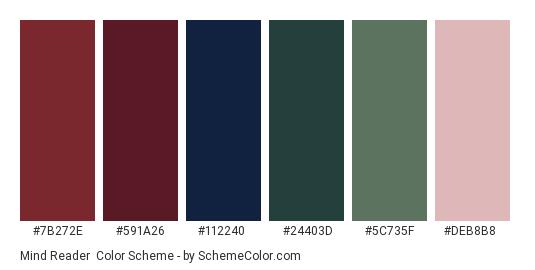 Mind Reader - Color scheme palette thumbnail - #7B272E #591A26 #112240 #24403D #5C735F #DEB8B8
