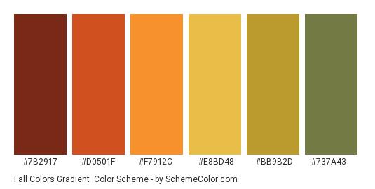 Fall Colors Gradient - Color scheme palette thumbnail - #7B2917 #D0501F #F7912C #E8BD48 #BB9B2D #737A43