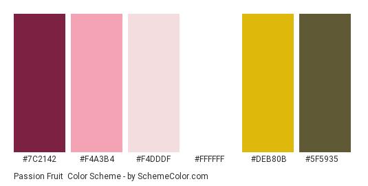 Passion Fruit - Color scheme palette thumbnail - #7C2142 #F4A3B4 #F4DDDF #ffffff #DEB80B #5F5935