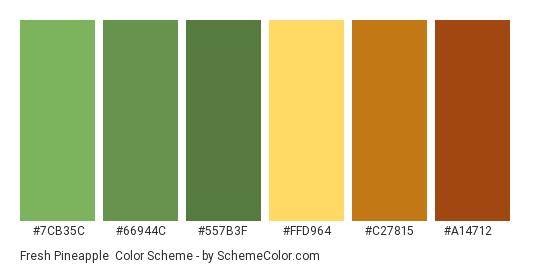 Fresh Pineapple - Color scheme palette thumbnail - #7CB35C #66944C #557B3F #FFD964 #C27815 #A14712