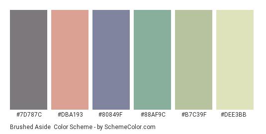Brushed Aside - Color scheme palette thumbnail - #7D787C #DBA193 #80849F #88AF9C #B7C39F #DEE3BB