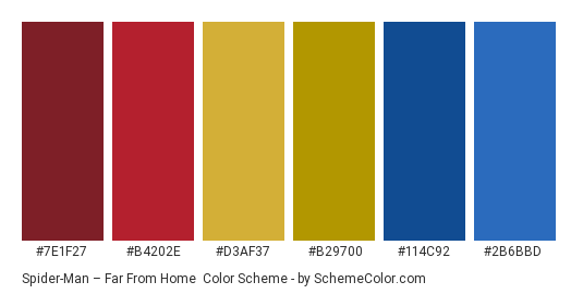 Spider-Man – Far From Home - Color scheme palette thumbnail - #7E1F27 #B4202E #D3AF37 #B29700 #114C92 #2B6BBD
