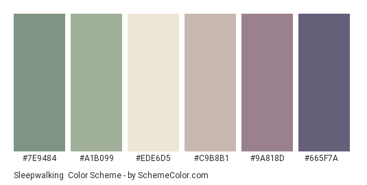 Sleepwalking - Color scheme palette thumbnail - #7E9484 #A1B099 #EDE6D5 #C9B8B1 #9A818D #665F7A